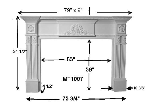MT1007 Cast Stone Mantel Dimensions