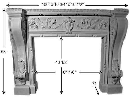 MT1009 Cast Stone Mantel Dimensions