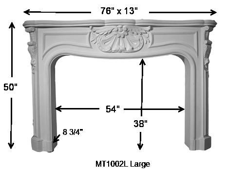 MT1002L Cast Stone Mantel Dimensions