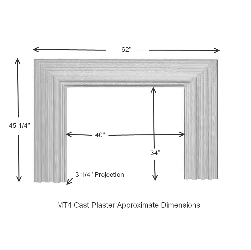 MT4 Bolection Cast Stone Mantel Dimensions