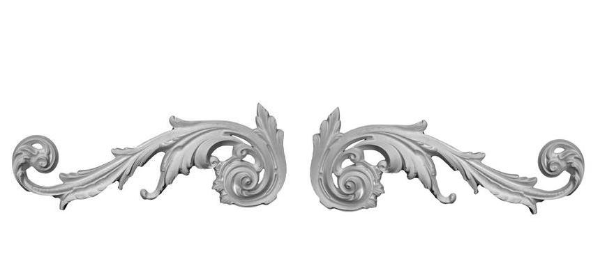 Pair of Scrolling Acanthus Leaf Appliques